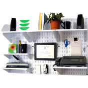 """Wall Control Office Wall Mount Desk Storage and Organization Kit, White, 48"""" X 32"""" X 12"""""""