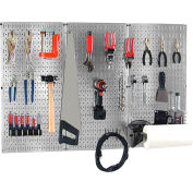 "Wall Control Pegboard Basic Tool Organizer Kit, Galvanized Black, 48"" X 32"" X 9"""