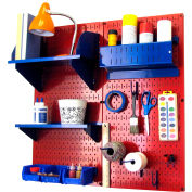 "Wall Control Pegboard Hobby Craft Organizer Storage Kit, Red/Blue, 32"" X 32"" X 9"""