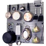 """Wall Control Kitchen Pegboard Pack Storage & Organization Kit, Gray/Black, 32"""" X 32"""" X 6"""""""