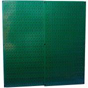 "Wall Control Pegboard Pack- 2 Panels, Green Metal, 32"" X 32"" X 3/4"""