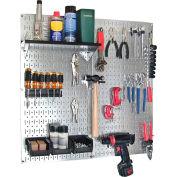 "Wall Control Pegboard Utility Tool Storage Kit, Galvanized Black, 32"" X 32"" X 6"""
