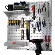 "Wall Control Pegboard Utility Tool Storage Kit, Galvanized White, 32"" X 32"" X 6"""