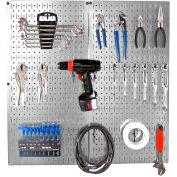 "Wall Control Pegboard Organizer Starter Kit, Galvanized Black, 32"" X 32"" X 6"""
