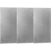 "Wall Control Industrial Metal Pegboard, Galvanized Metallic, 48"" X 32"" X 3/4"""