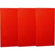 "Wall Control Industrial Metal Pegboard, Red, 48"" X 32"" X 3/4"""