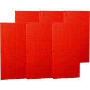 "Wall Control Industrial Metal Pegboard, Red, 96"" X 32"" X 3/4"""