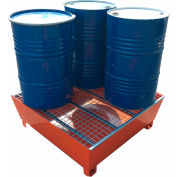 ESP Forkliftable 4-Drum Spill Containment Pallet MSP-4D - Steel - 148 Gallon Capacity