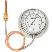 "4 1/2"" dial, 5FT, remote reading, 1/2"" NPT union connection, 0-180F"