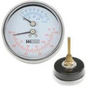 "2 1/2"" Boiler Gauge 1/4' NPT Rear 60-260F, 0-75PSI"