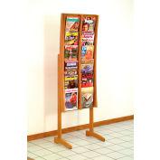 12 Pocket Contemporary Floor Display - Medium Oak