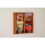 4 Pocket (2Wx2H) Acrylic & Oak Wall Display - Medium Oak