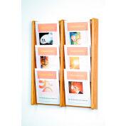 6 Pocket (2Wx3H) Acrylic & Oak Wall Display - Light Oak
