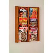 6 Pocket (2Wx3H) Acrylic & Oak Wall Display - Medium Oak
