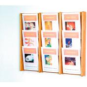 9 Pocket (3Wx3H) Acrylic & Oak Wall Display - Light Oak