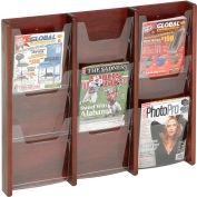 9 Pocket (3Wx3H) Acrylic & Oak Wall Display - Mahogany