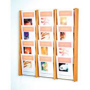 12 Pocket (3Wx4H) Acrylic & Oak Wall Display - Light Oak