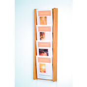 4 Pocket (4H) Acrylic & Oak Wall Display - Light Oak