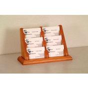6 Pocket Counter Top Business Card Holder - Medium Oak