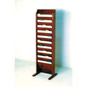 Free Standing 10 Pocket Chart Holder - Mahogany