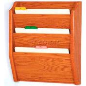 Wooden Mallet 3 Pocket Legal Size File Holder, Medium Oak