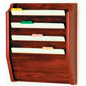 Wooden Mallet 4 Pocket Legal Size File Holder, Mahogany