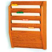Wooden Mallet 4 Pocket Legal Size File Holder, Medium Oak