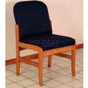 Wooden Mallet Prairie Armless Guest Chair with Standard Leg, Solid Vinyl, Black/Medium Oak