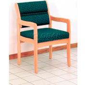 Wooden Mallet Valley Guest Chair with Standard Leg, Solid Vinyl, Black/Medium Oak