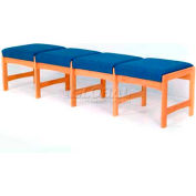 Wooden Mallet Four Seat Bench, Solid Vinyl, Mocha/Mahogany