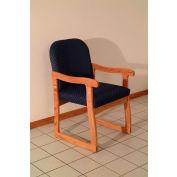 Single Sled Base Chair w/ Arms - Mahogany/Blue Vinyl