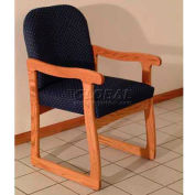 Wooden Mallet Prairie Guest Chair with Sled Base, Solid Vinyl, Black/Mahogany