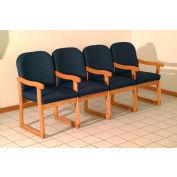 Quadruple Sled Base Chair w/ Arms - Mahogany/Blue Arch Pattern Fabric