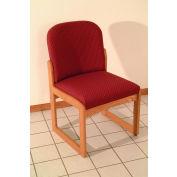 Single Sled Base Chair w/o Arms - Light Oak/Burgundy Arch Pattern Fabric