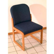 Wooden Mallet Prairie Armless Guest Chair with Sled Base, Solid Vinyl, Black/Mahogany