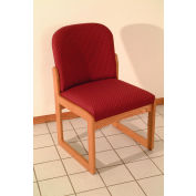 Single Sled Base Chair w/o Arms - Medium Oak/Burgundy Arch Pattern Fabric