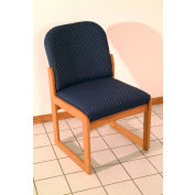 Single Sled Base Chair w/o Arms - Medium Oak/Green Leaf Pattern Fabric