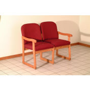 Double Sled Base Chair w/ End Arms - Medium Oak/Burgundy Arch Pattern Fabric