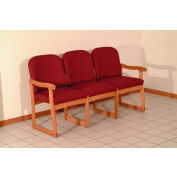 Triple Sled Base Chair w/ End Arms - Medium Oak/Burgundy Arch Pattern Fabric