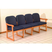 Quadruple Sled Base Chair w/ End Arms - Mahogany/Blue Water Pattern Fabric