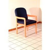 Single Standard Leg Chair w/ Arms - Light Oak/Khaki Arch Pattern Fabric