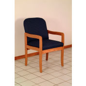 Single Standard Leg Chair w/ Arms - Medium Oak/Green Leaf Pattern Fabric