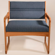Bariatric Sled Base Chair - Light Oak/Blue Water Pattern Fabric