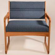 Bariatric Sled Base Chair - Light Oak/Blue Fabric