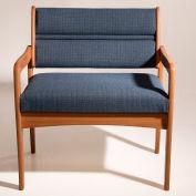 Bariatric Standard Leg Chair - Light Oak/Taupe Leaf Pattern Fabric
