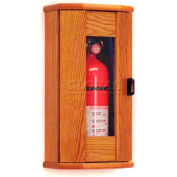 Wooden Mallet Fire Extinguisher Cabinet, 5 lb, with Panel, Medium Oak, FEC11MO