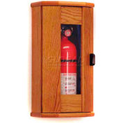 Wooden Mallet Fire Extinguisher Cabinet, 10 lb, with Panel, Medium Oak, FEC21MO