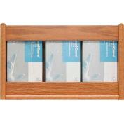 Wooden Mallet 3 Pocket Glove/Tissue Box Holder - Rectangle, Light Oak