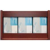 Wooden Mallet 3 Pocket Glove/Tissue Box Holder - Rectangle, Mahogany