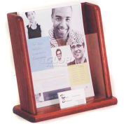 Wooden Mallet Countertop Literature Display with Business Card Pocket, Mahogany
